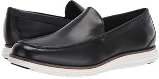 Cole Haan Original Grand Venetian (Black Leather/Optic White) Men's Slip on Shoes