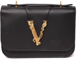 Versace Leather Logo Leaf Shoulder Bag