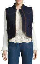 See by Chloe Faux Shearling-Lined Quilted Denim Vest