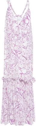 Tibi Ruffle-trimmed Printed Silk-crepe Maxi Dress