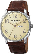 Akribos XXIV Mens Cream Dial Brown Leather Strap Watch