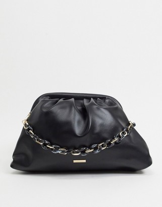 Aldo Sabu slouch clutch bag with chain handle in black