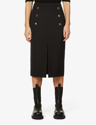 Eleventy Button-embellished high-waist wool-blend midi skirt