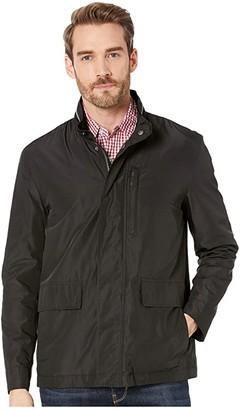 Cole Haan Packable Rain Jacket with Stand Collar (Black) Men's Coat