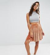 Boohoo Petite Velvet Skater Mini Skirt
