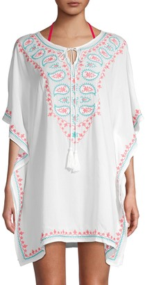 La Moda Clothing Embroidered Tie-Front Coverup