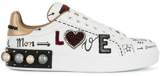 Dolce & Gabbana Embroidered Applique Sneakers