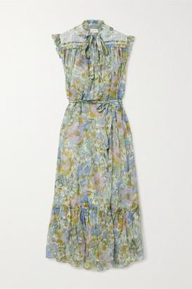 Zimmermann Super Eight Crochet-trimmed Floral-print Silk-chiffon Midi Dress - Green