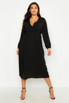 boohoo Plus Wrap Midi Dress