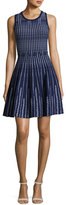 Milly Sleeveless Vertical Optic-Pattern Fit-&-Flare Dress