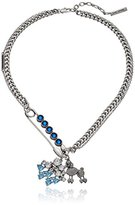 "Marc Jacobs Resort 2016"" Blue Multi-Safety Pin Poodle Chain Necklace, 16.5"" + 2"" Extender"