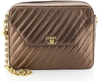 Chanel Vintage Pocket Camera Bag Diagonal Quilted Leather Large