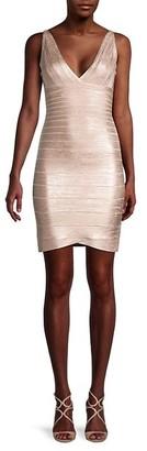 Herve Leger Striped Bodycon Dress