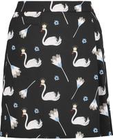 Markus Lupfer Wrap-effect printed crepe mini skirt