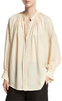 Vince Shirred Handstitch Silk Blouse