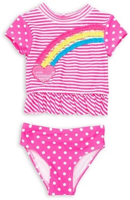 Flapdoodles Baby Girl's 2-Piece Rainbow Striped and Dotted Rashguard