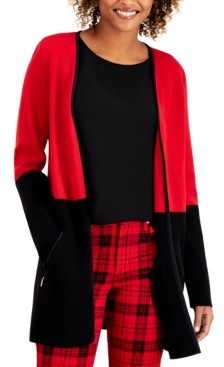 Charter Club Milano Cotton Colorblocked Open-Front Cardigan, Created for Macy's