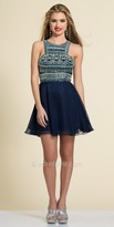 Dave and Johnny Grecian Beaded Chiffon Fit and Flare Dress
