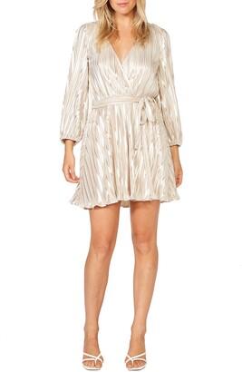 Bardot Bellissa Pleated Long Sleeve Faux Wrap Dress