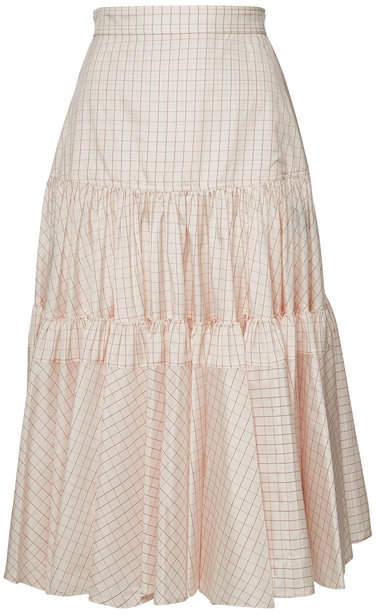 Calvin Klein Printed Silk Midi Skirt