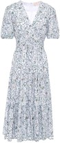 Tory Burch Gathered Floral-print Cotton-blend Devore-mesh Midi Dress