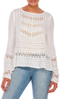 Patrons Of Peace Woven Crinkle Top with Lace Insets