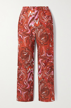 MAISIE WILEN Jet Printed Shell Straight-leg Pants - Red