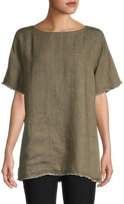Eileen Fisher Fringed Organic Linen Tunic