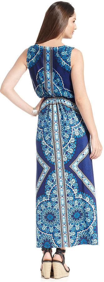 Style&Co. Petite Sleeveless Printed Studded Maxi Dress