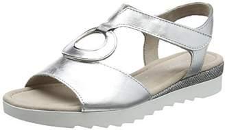 Gabor Shoes Women's Comfort Sport Open Toe Sandals, Multicolor (Silber Glamour)