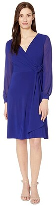 Lauren Ralph Lauren Cooper Long Sleeve Day Dress (Cannes Blue) Women's Dress