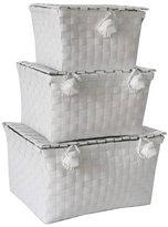 JVL Woven Lidded Storage Units - Set of 3, White
