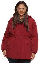 Gallery Plus Size Hooded Anorak Jacket & Scarf Set