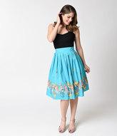 Banned 1950s Aqua Cotton Mermaid Sophia High Waist Circle Skirt