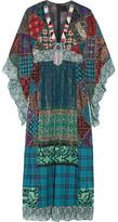 Anna Sui Embellished Silk-blend Chiffon And Cotton Maxi Dress - Blue