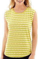 Liz Claiborne Cuffed Textured Striped T-Shirt