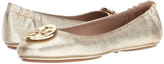 Tory Burch Minnie Travel Ballet Flat (Spark Gold) Women's Shoes