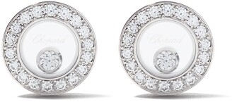 Chopard 18kt white gold Happy Diamonds Icons ear pins