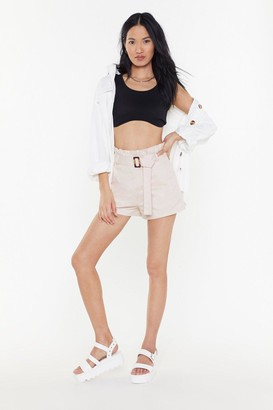 Nasty Gal Womens In The Bag Paperbag Shorts - Cream - 6, Cream