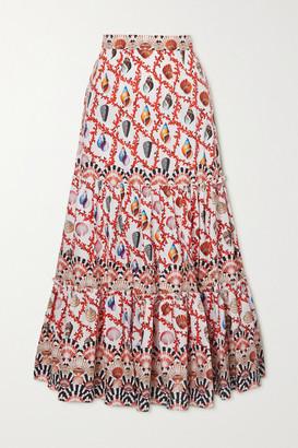 Mary Katrantzou MARY-MARE Brittany Tiered Printed Cotton-blend Poplin Maxi Skirt - Orange
