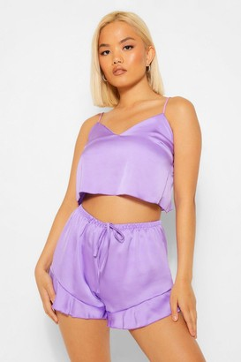 boohoo Petite Satin tank and Shorts PJ Set
