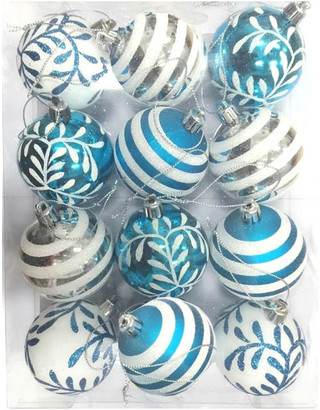 Queens Of Christmas Aqua, White Ball Ornament With Snowflake, Line Glitter Design