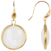 Rivka Friedman 18K Gold Clad Faceted Mother of Pearl Round Dangle Earrings