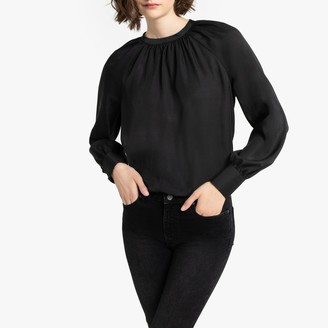 Gathered Satin Feel Blouse with Long Sleeves