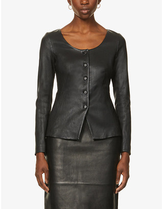 Theory Scoop-neck leather jacket