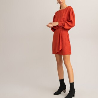 La Redoute Collections Mock Wrapover Mini Dress with Long Sleeves