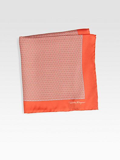 Salvatore Ferragamo Silk Print Pocket Square