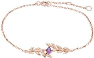 Gemondo O Leaf Amethyst Bracelet In Rose Gold