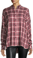 Zadig & Voltaire Tamara Oversized Button-Front Plaid Shirt