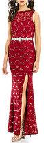 Jodi Kristopher Scalloped Neckline Sequin Lace Long Dress